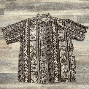 Cooke Street Hawaiian Shirt Size Medium Dark Brown